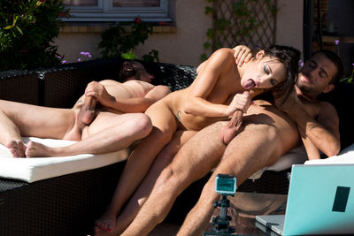 French porn star Nikita Bellucci double penetration by the pool