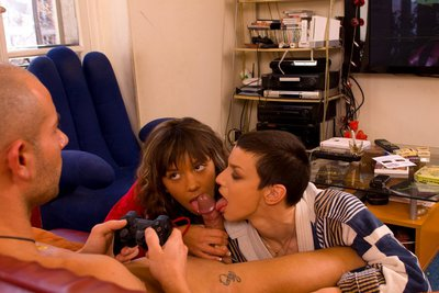 Pics of two French babes giving head together to Mike angelo