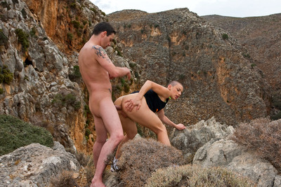 Eliska Cross fucked in the ass by Titof in a beautiful landscape