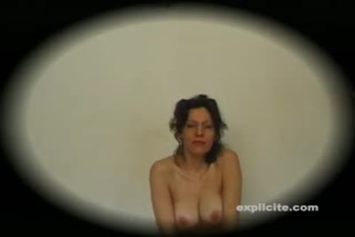 POV video of busty MILF stripping, giving head and pissing