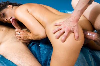 French nasty brunette in her first threesome video. 1/2