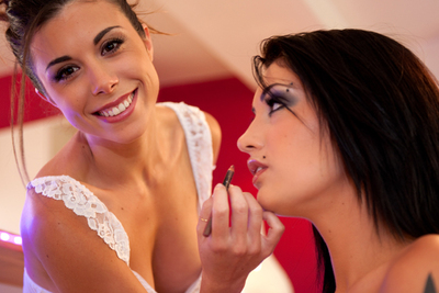 Gorgeous French make-up artist seduced and first-time naked