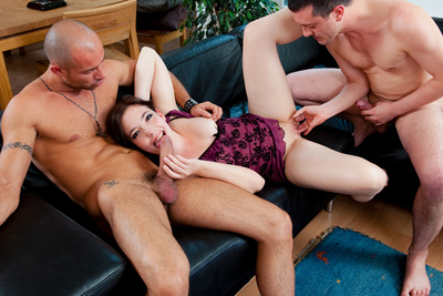 Very first hardcore threesome video of a French brunette debutante. 1/2