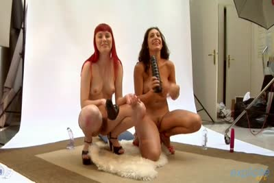 Huge dildos insertions with two horny French babes. part 2