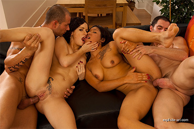 Anal foursome sex with two crazy French brunettes. 2/2