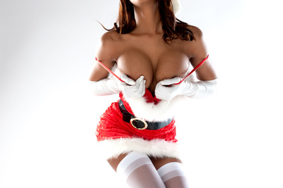 Busty French latina babe grants you with a Christmas strip-tease