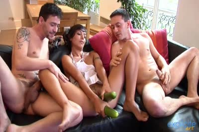 Funny threesome sex for French brunette Lou Charmelle. 1/2