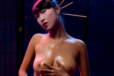 Strip-tease and oil games of a gorgeous asian busty beauty. 1/2