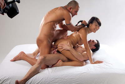 Double anal penetration for a gorgeous asian busty babe