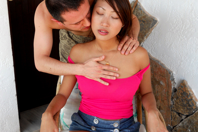 Beautiful French busty asian babe hardcore with a guy