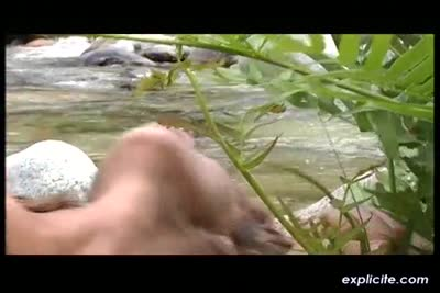 Arabic babe fucked in the ass in a river. Peeing