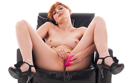 First time masturbation and dildo for this lovely French redhead