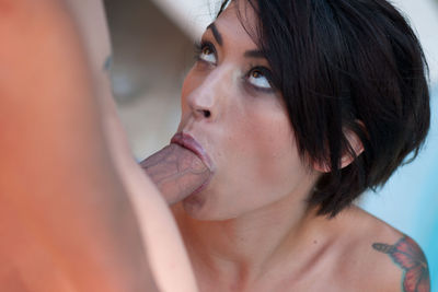 French beautiful brunette Carla Cat fucked by the pool.