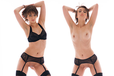 La vidéo du photoshoot glamour et du strip tease de Molly Saint Rose