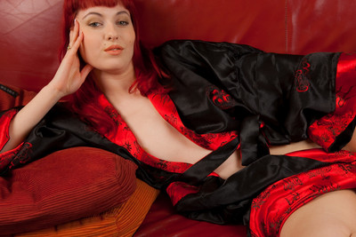 Solo masturbation and toy pictures of redhead French Graziella Diamond