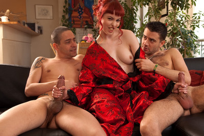Pics of French redhead porn star in her very first threesome with two boys