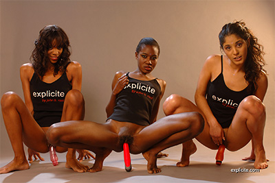 Erotic video with three black French girls dancing, toying and pissing