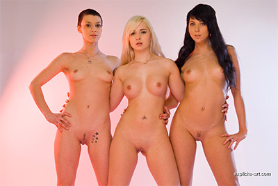 Three beautiful French babes have lesbian fun in studio. Part 1