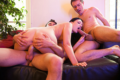 French babe fucked by two guys. Part 2