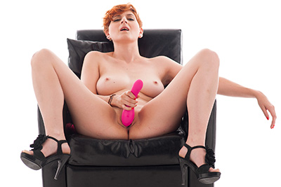 A busty redhead debutante in her first dildo solo masturbation