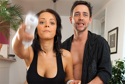 French porn star Liza del Sierra plays Wii naked with a boy. Part 1