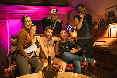 Photos of the making of porn film Sexo