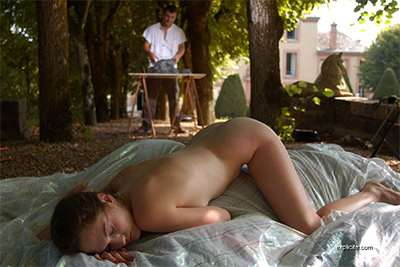 Photos of French teen Ingring posing and fucked by the sculptor