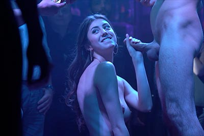Young Lina Luxa strips, gives head and fucks on stage in film Sexo